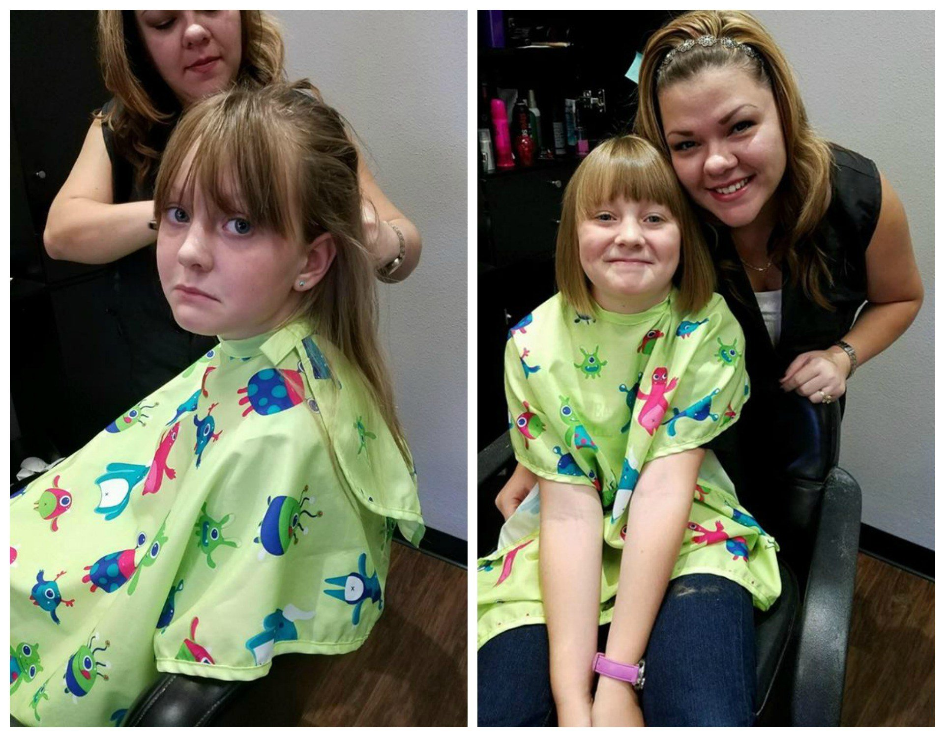 Audreyana Lincoln, 9, before and after (right) cutting her hair to donate to childhood cancer patients through 'Wigs For Kids'