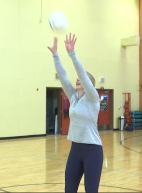 Chelsey Walter trains at Granite Fitness for her volleyball tryouts overseas