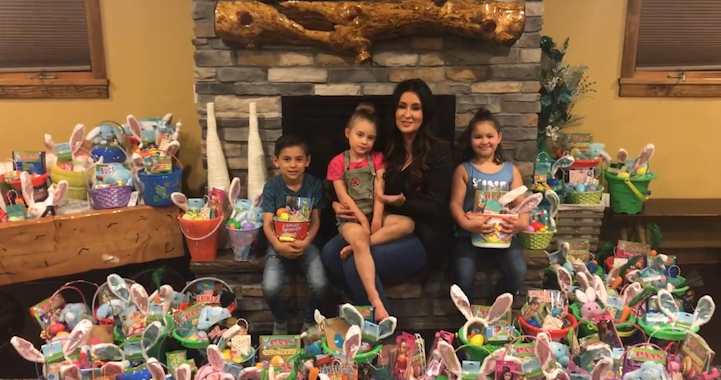 """Shawna Morales (with her 3 kids) shares """"Operation Easter"""" project to give out more than 200 baskets to local families who may not be able to afford them without help"""