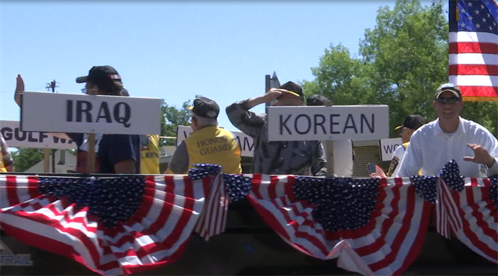 Veterans ride float in Laurel, MT 4th of July parade