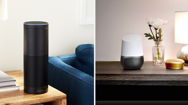 Smart home devices (Left: Amazon Echo, Right: Google Home)
