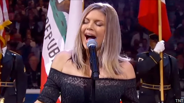 Fergie singing the National Anthem at the 2018 NBA All-Star game