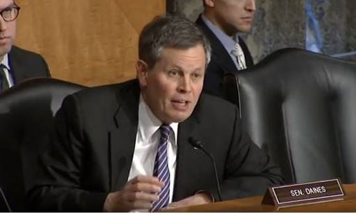 Senator Steve Daines addresses FEMA during during a Senate Homeland Security and Governmental Affairs Committee meeting.