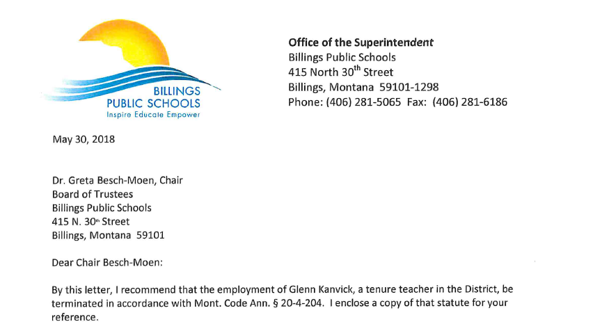 Billings School Board cancels meeting to discuss termination of teacher | KULR 8