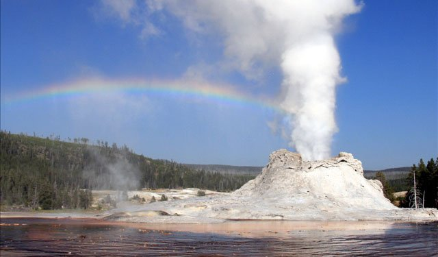 Steam phase eruption of Castle Geyser in Yellowstone National Park, Photo Credit: Courtesy of Mila Zinkova
