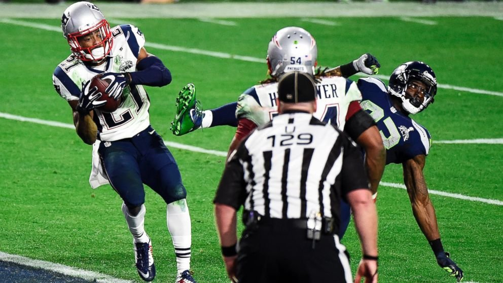 Malcolm Butler #21 of the New England Patriots makes an interception against the Seattle Seahawks in the fourth quarter during Super Bowl XLIX, Feb. 1, 2015. Getty Images