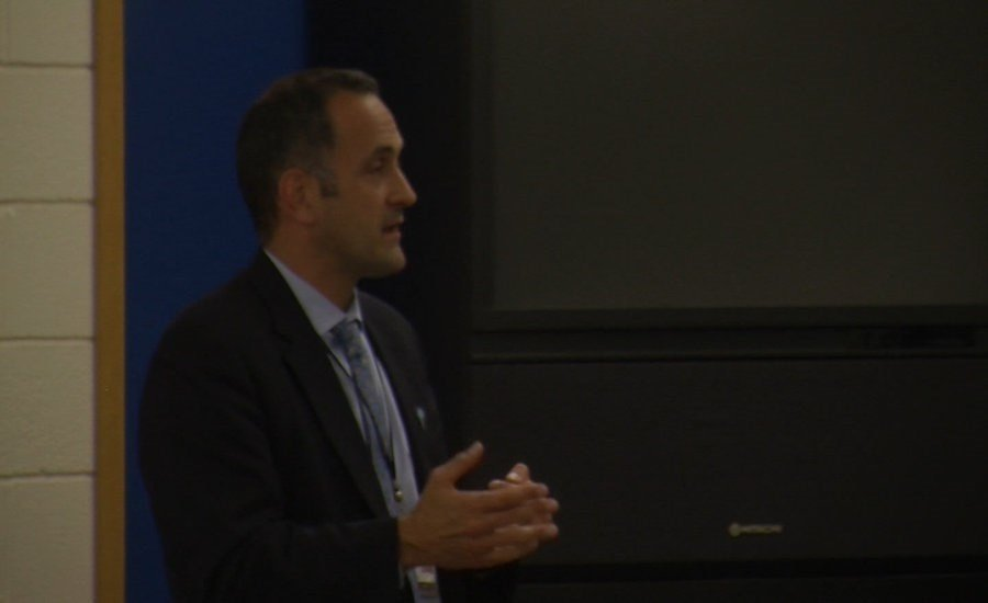 Dr. Eric Arzubi Presenting Mental Health Clinic to School Board