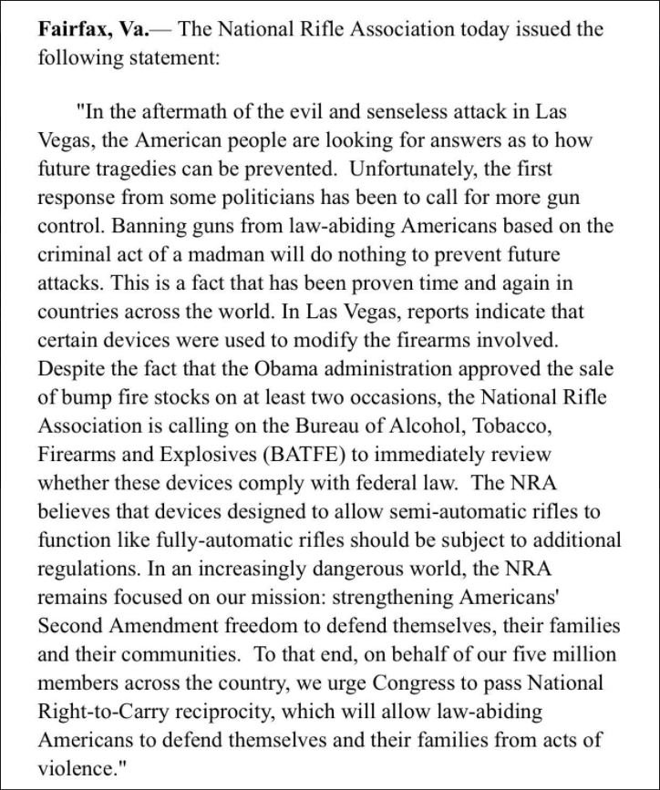 """National Rifle Association calls for federal review of """"bump sto"""
