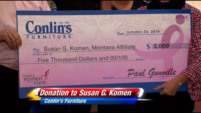 Conlin 39 S Furniture Donates To Susan G Komen Montana News Weather Sports In